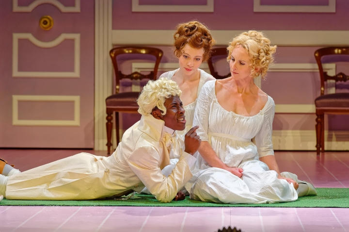 Rashidi Edward (John Willoughby) with Miranda Daughtry (Marianne Dashwood) and Anna Steen (Elinor Dashwood).jpg